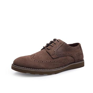 genuine leather formal derby oxfords flat shoes