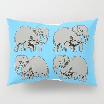 Elephants Pattern in Blue Pillow Sham by Artist Abigail