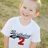 Baby Onesuit Birthday or Boy or Girl T-Shirt2 color, 2 sided with personalized name and age.  Adorable