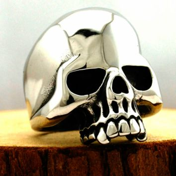 Stainless Steel Polished Half Jaw Skull Ring