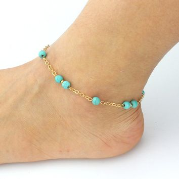 Beaded Turquoise Gold Beach, Barefoot Anklet