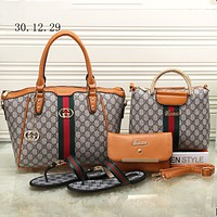 GUCCI 2018 trendy women high quality exquisite four-piece fashion F-KSPJ-BBDL brown