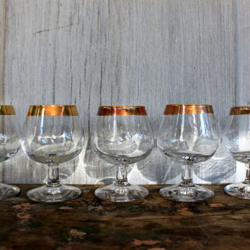 set of 5 vintage small brandy snifters cordials // gold rims  // barware glasses bar ware