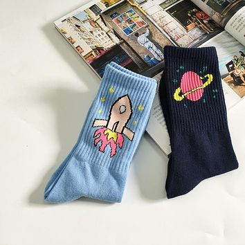 Korean Novelty Women's socks Men's socks Creative  Rocket Saturn Cartoon Socks Retro Pure Cotton Sock