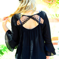 COME BACK TO ME CHIFFON TOP IN BLACK