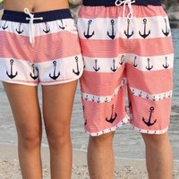 Anchor Pattern Beach Holiday Shorts for Couple