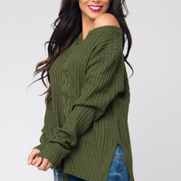 Getting Warm Olive Sweater