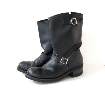 Vintage Black Leather Engineer Boots. Motorcycle Boots. Buckled Boots. Worn In Grunge Boots.