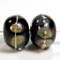 Black Handmade Lampwork Glass Beads With Raku Frit fb064 Shiny (Choices of Etched, .999 Fine Silver, Shapes, Sizes, Large Hole Beads Extra)