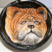 Italian Majolica English Bulldog Wall Plaque, Hand Painted Relief Bull Dog Bowl, Mid Century Bulldog Plaque 617