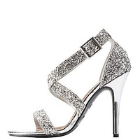 DOLLHOUSE METALLIC GLITTER STRAPPY DRESS SANDALS