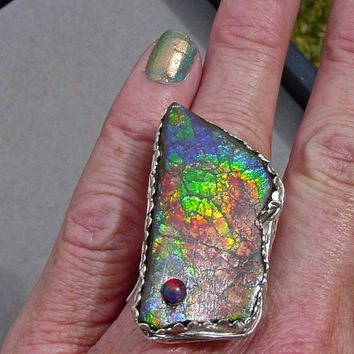 GIANT Rare Ammolite Ring.Spectacular Natural Ammolite fossil ring.Fine  Silver and Sterilng Silver Handmade one of a kind. Adjustable size