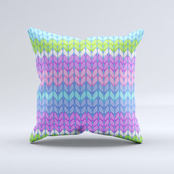 Bright-Colored Knit Pattern Ink-Fuzed Decorative Throw Pillow