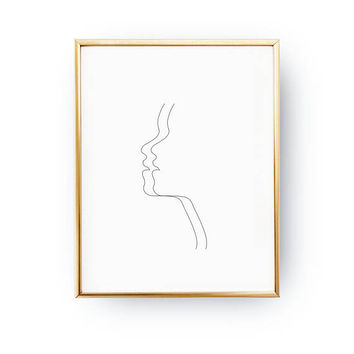 Woman Double Face, Woman Art, Black And White, Sketch Art, Woman Face Print, Minimal Art, Drawn Face Art, Simple Fashion, Woman Illustration