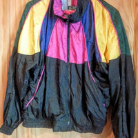 Vintage 80s Colorblock Nylon Windsuit Windbreaker Jacket Size Small