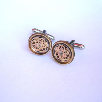 "Mechanical Cufflinks ""Model Thirty-Seven"" Mancessories Soldered Clockwork Watch Gear Cuff Links Steampunk Industrial OOAK A Mechanical Mind"