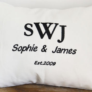 Personalized wedding pillow, anniversary pillow cover,name pillow cover, embroidered wedding pillow case (A59)