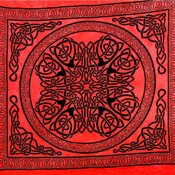 Red Mandala tapestry celtic tapestry wall hanging hippie boho gypsy dorm decor psychedelic wall art bohemian bedding coverlet picnic sheet