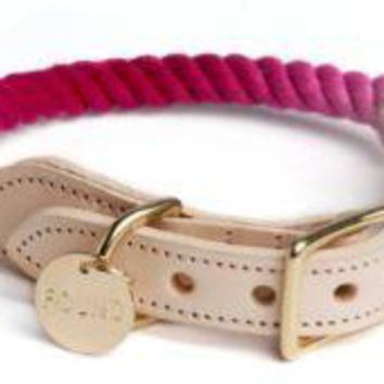 Rope & Leather Collar Magenta Ombre by Found My Animal at Baysidebuddy.com