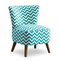 MCM Chair - Zig Zag Teal and White | www.hayneedle.com