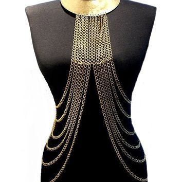 Handmade body chain necklace, gold plated body jewelry