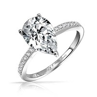 1.9CT Pear Cut Solitaire Russian Lab Diamond Engagement Ring