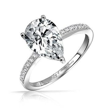1.9CT Pear Cut Solitaire Russian Lab Diamond Engagement Ring 5bda8c6002