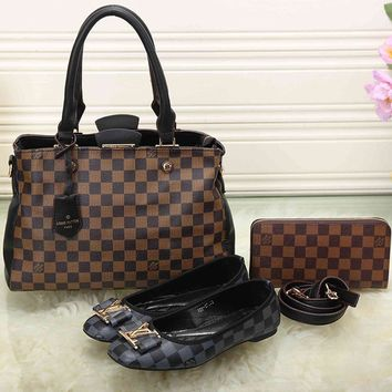 LV Women Leather Tote Satchel Shoulder Bag Handbag Shoes Wallet Three Piece Suit-7