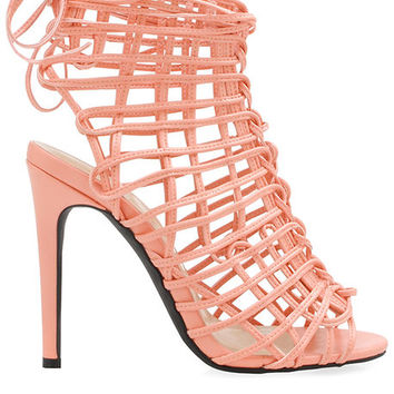 The Monapisa Lace Up Heel in Blush