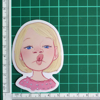 Cute Girl Puckering Lips Sticker Decal