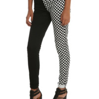 Royal Bones By Tripp Split Leg Black Checkered Skinny Pants