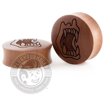 Vampire Teeth - Engraved Wood Plugs