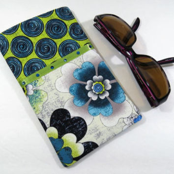 Green flower eyeglass case with Swarovski crystals, hanging loop, and Velcro tab closure