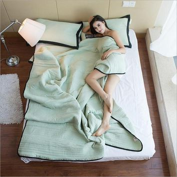 Summer Style Patchwork Quilts Pastoral Style Quilted Set Full Queen Twin Size Summer Blankets Thin Duvets Print Comforter