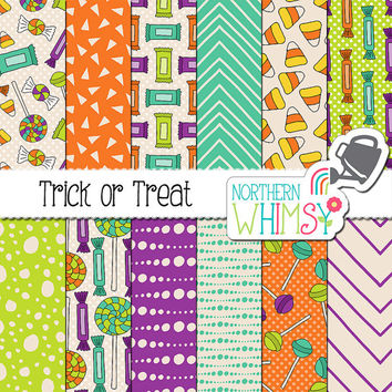 "Halloween Digital Paper - ""Trick or Treat"" - candy scrapbook paper with seamless patterns in orange, lime, purple & teal - commercial use OK"