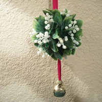 Mistletoe Kissing Ball with Gold Metal  Bell Christmas Decoration Faux Botanical Mid-Century Holiday Home Decor