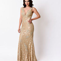 1930s Style Taupe Sexy Fitted Embellished Lace V-Neck Long Dress 2016 Prom Dresses