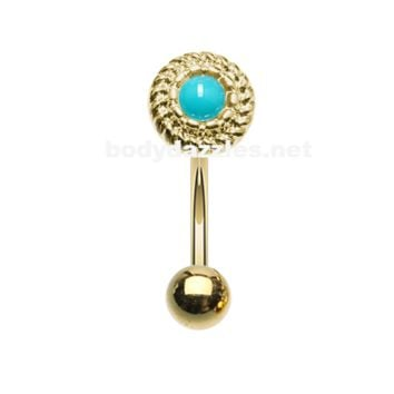 Golden Round Rope Turquoise Curved Barbell Eyebrow Ring Rook Daith Ring 16ga Body Jewelry