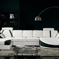 T57B Ultra Modern White and Black Leather Sectional Sofa