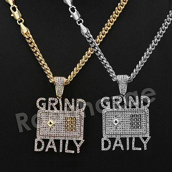 "Iced Out 14K PT Gold GRIND DAILY Pendant W/5mm 24"" 30"" Cuban Chain"