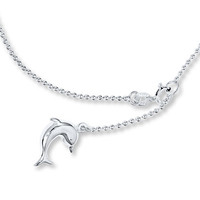 Dolphin Charm Anklet Sterling Silver 10