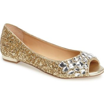 Jewel Badgley Mischka Claire Embellished Flat (Women) | Nordstrom