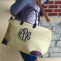 Champ YELLOW Seersucker Weekender Bag Monogram Font shown MASTER CIRCLE in navy