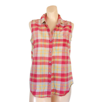 Sleeveless Blouse 90s Shirt Summer Shirt Plaid Shirt Women Pink Shirt Collared Shirt Yellow Shirt Cotton Shirt 1990s Clothing Ladies Clothes