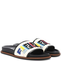 Embroidered leather slides