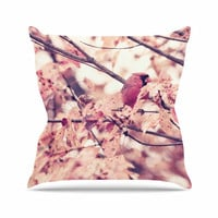 "Qing Ji ""Angry Bird in Fall Leaves"" Orange Nature Throw Pillow"