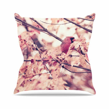 "Qing Ji ""Angry Bird in Fall Leaves"" Orange Nature Outdoor Throw Pillow"