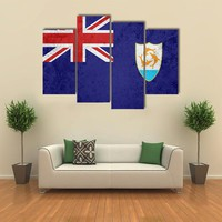 Flag Of Anguilla Multi Panel Canvas Wall Art