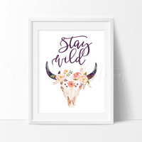 Stay Wild, Floral Cow Skull 2