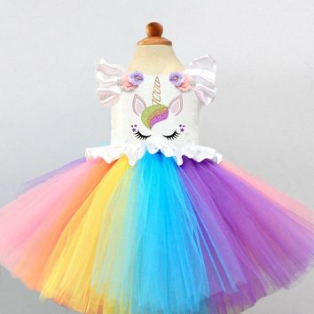 Girl Baby First Birthday Dress Tutu Girls Unicorn Clothes Cake Smash Outfits Kids Christening Gowns Rainbow Girls Dresses Wear